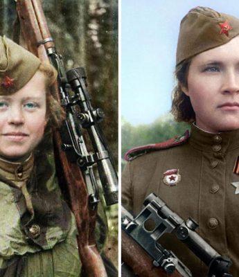 fotos coloridas atiradoras de elite russas